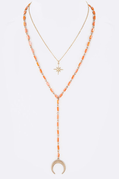 Star & Horn Drop Layered Station Necklace