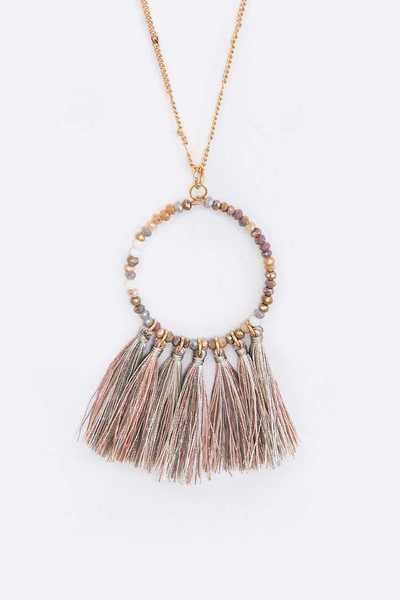 Crystal Beads Tassel Pendant Long Necklace