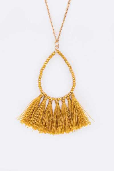Teardrop Wired Beads Tassel Long Pendant Necklace
