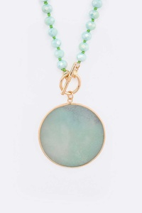 Circle Genuine Stone Pendant Convertible Necklace