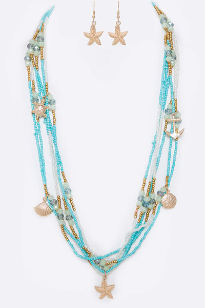 Sea Life Mix Charm Layered Beads Long Necklace Set