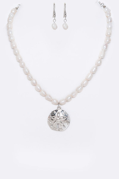 Sand Dollar Pendant Pearl Necklace Set