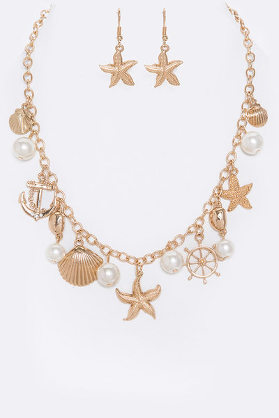 Sea Life Mix Charm Necklace Set