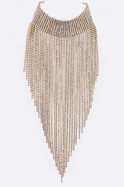 Layer Crystals Bib Choker Necklace Set