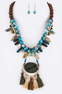 Mix Stones & Tassels Necklace Set