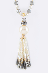 Pearl & Mix Beads Tassel Necklace Set