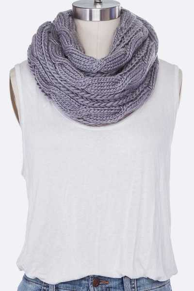 Cable Knit Infinity Winter Scarf Set