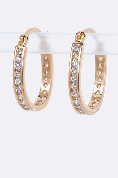 Petite CZ Oval Hoop Earrings