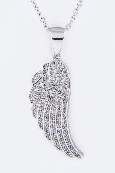 CZ Wing Pendant Necklace