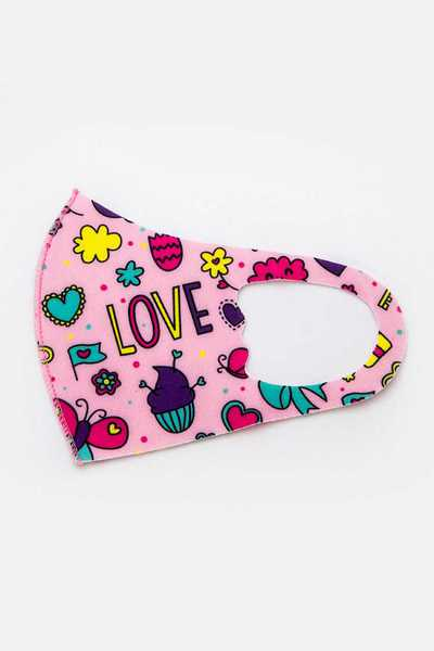 Kid Size Girly Printed Fabric Mask