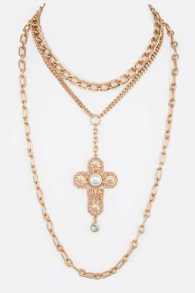 Cross Pendant Layer Iconic Necklace