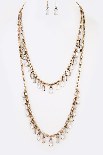 Fringe Crystal Layer Necklace Set
