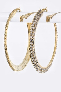 2 Rows Crystal Hoop Earrings