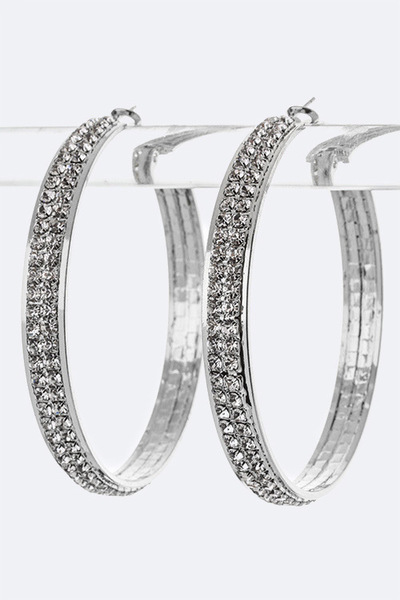 2 Row Crystal Hoop Earrings