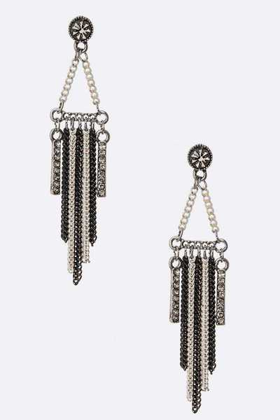 Mix Chain Tassel Earrings
