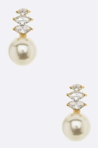 CZ Pearl Drop Earrings