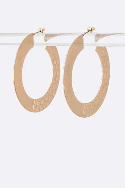 Embossed Metal Hoop Earrings