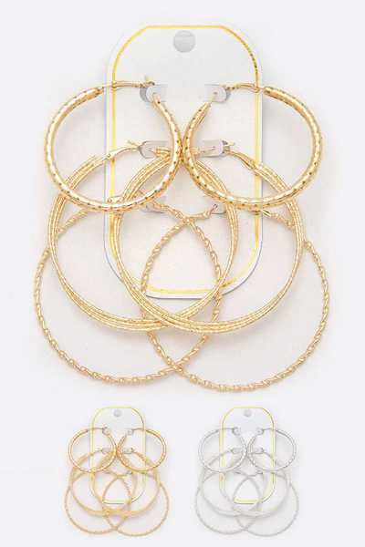 Mix Textured Hoop Earrings Set