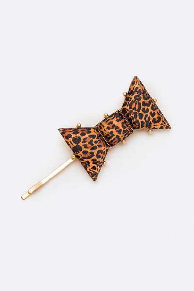 Leopard Printed Glass Bow Barbie Pin