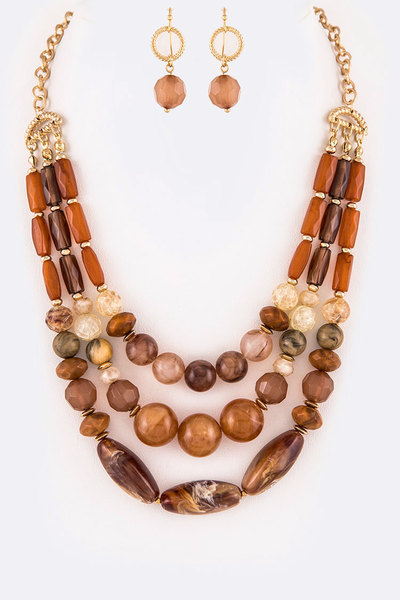 Resin Pebble Layer Statement Necklace Set