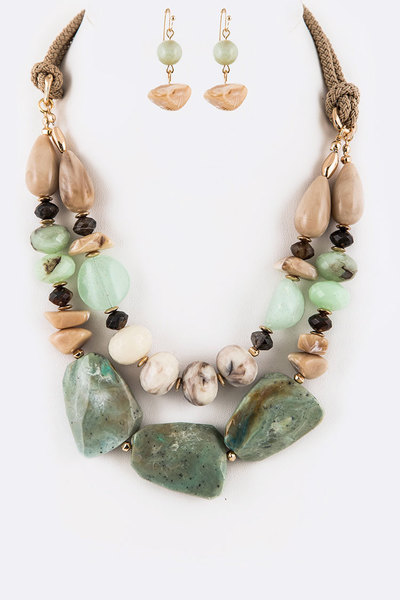 Iconic Mix Resin Layer Necklace Set