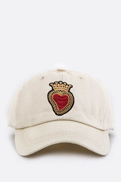 Kid Size Embroidered Heart & Crown Cotton Cap