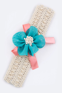 Flower Bow Kids Size Stretch Headband