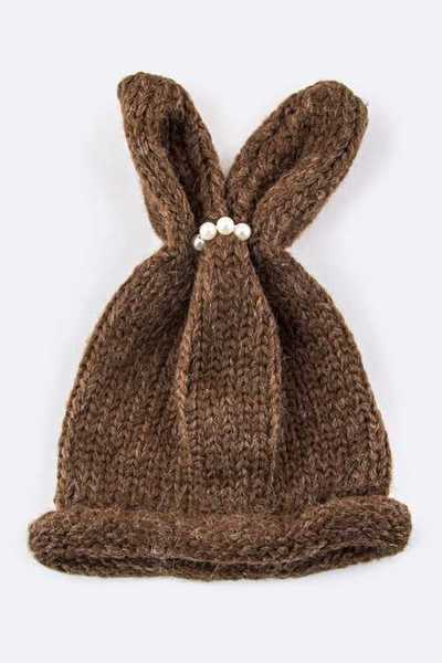 Kids Size Bunny Ears Pearls Accent Beanie