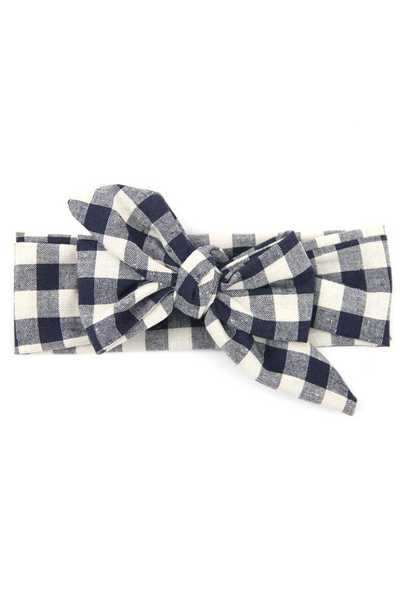 Gingham Printed Kid Size Bow Tie Headband