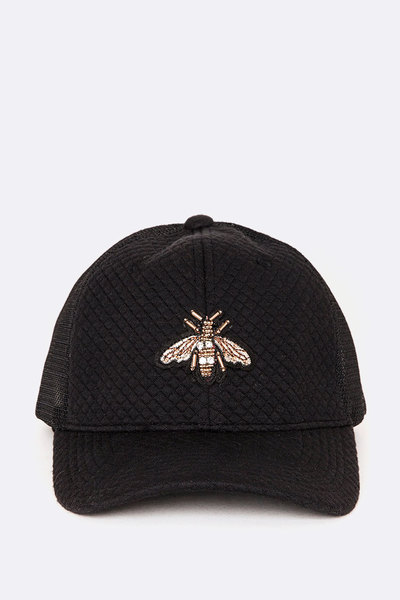 Embroidered Bee Patch Quilted Trucker Hat