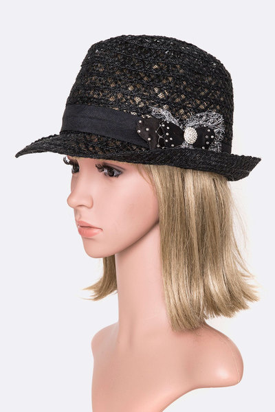 Mesh Crystal Bow Fashion Straw Fedora