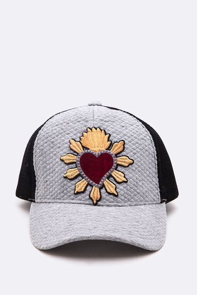 Embroidered Heart Quilted Cotton Trucker Cap