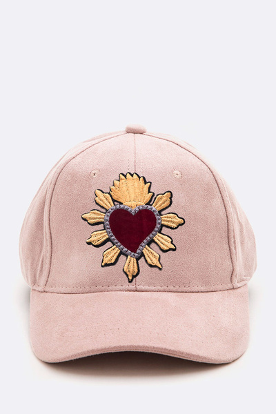 Heart Embroidered Suede Cap