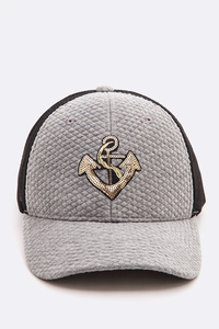 Sequin Anchor Quilted Cotton Trucker Cap