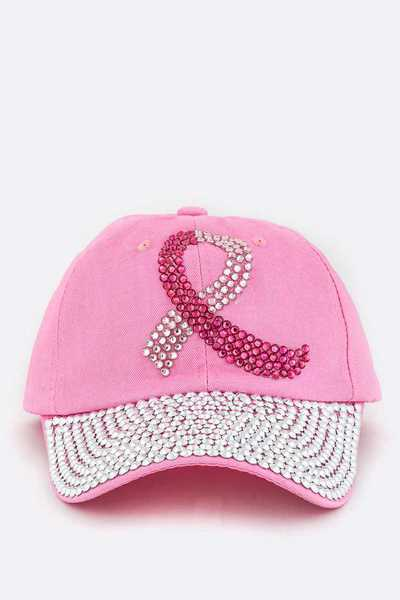 Pink Ribbon Crystal Cap