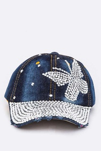 Crystal Butterfly Iconic Denim Cap