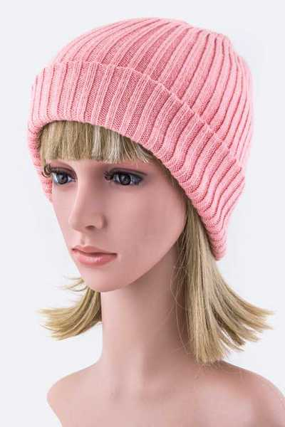 Double Layer Rib Knit Beanie Hat