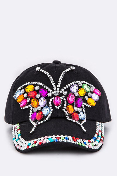 Crystal Butterfly Embelished Fashion Cotton Cap