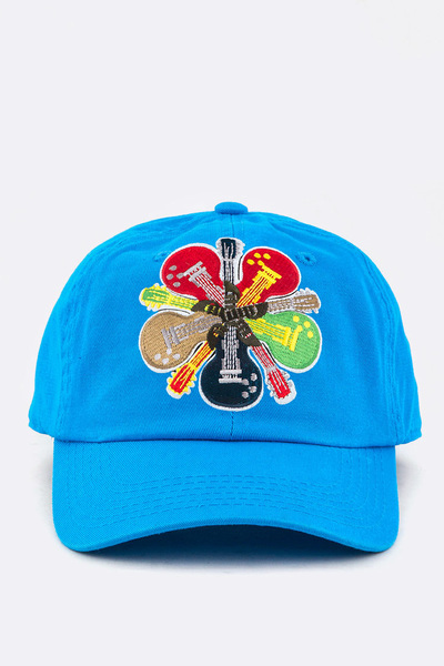 Guitar Embroidery Cotton Cap
