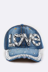 LOVE Crystal Embelished Denim Cap