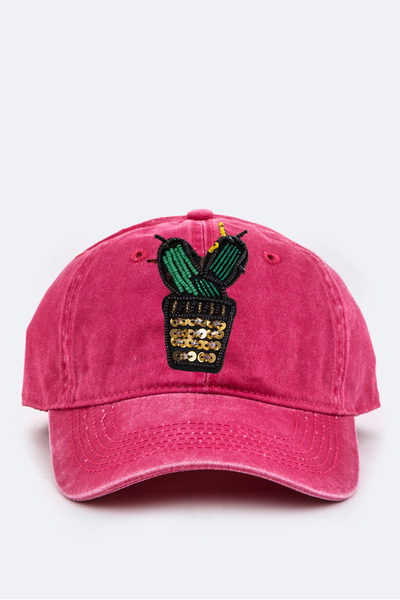 Beaded Cactus Cotton Washed Cap