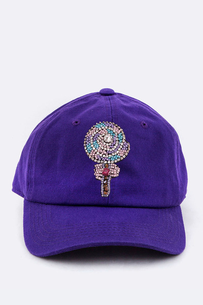 Crystal Beaded Lollipop Patched Cotton Cap