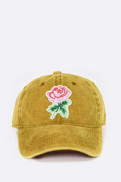 Embroidered Rose Patch Vintage Washed Cotton Cap