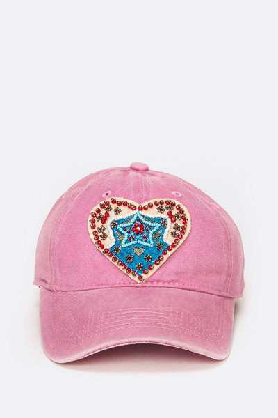 Embellished Beaded Heart Patch Washed Cotton Cap