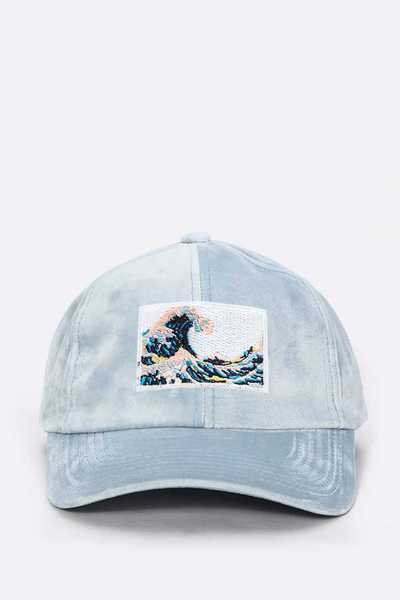 Embroidered Wave Patch Velour Plushy Cap