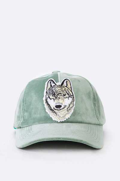 Embroidered Wolf Patch Velour Cap