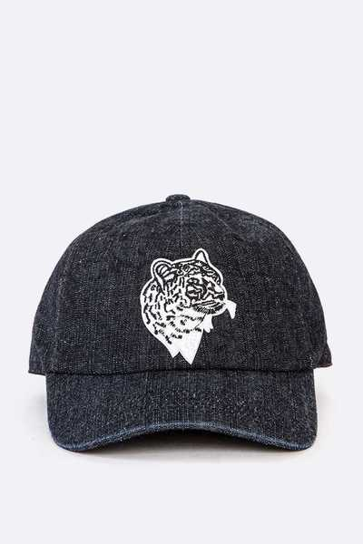 Cheetah Embroidered Patch Denim Cap
