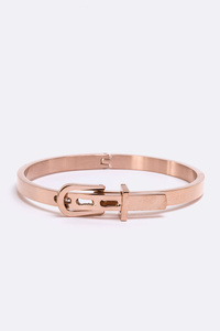 Stainless Steel Iconic Buckle Closure Bangle