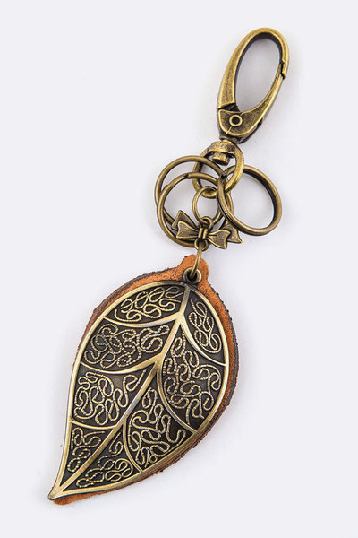 Metal Leaf Leather Key Charm