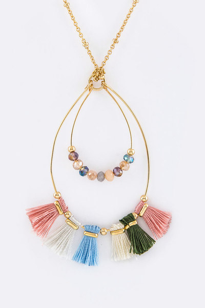 Beads & Tassels Teardrop Layer Pendant Necklace